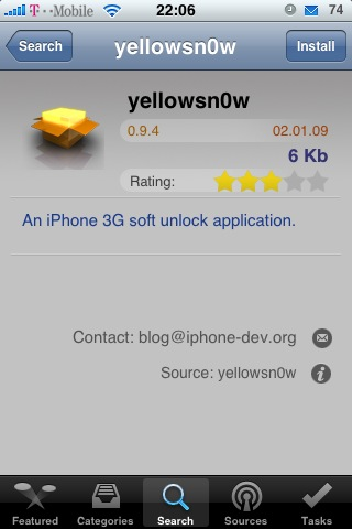 yellow094 [iPhone] yellowsn0w schon in Version 0.9.4