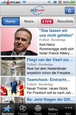[iPhone] Mit Eurosport gut Informiert