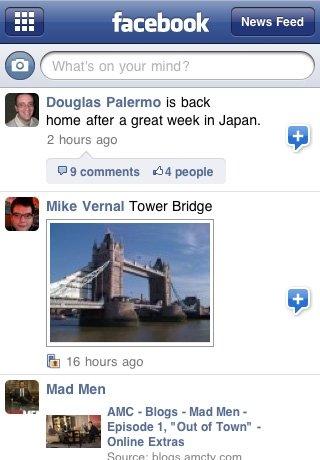 Erste Bilder der neuen Facebook Applikation