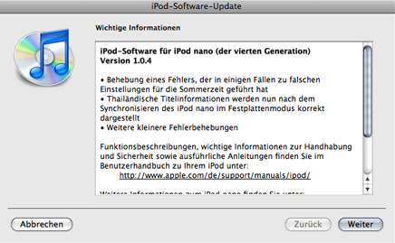 ipod 104 [Apple] Neue iPod Nano Software 1.0.4