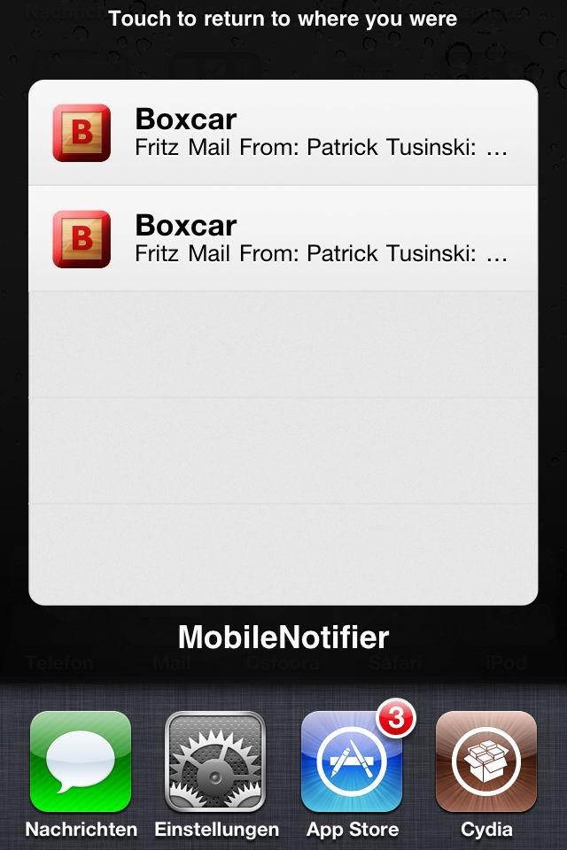 MobileNotifier – Nachrichten auf dem Home Screen