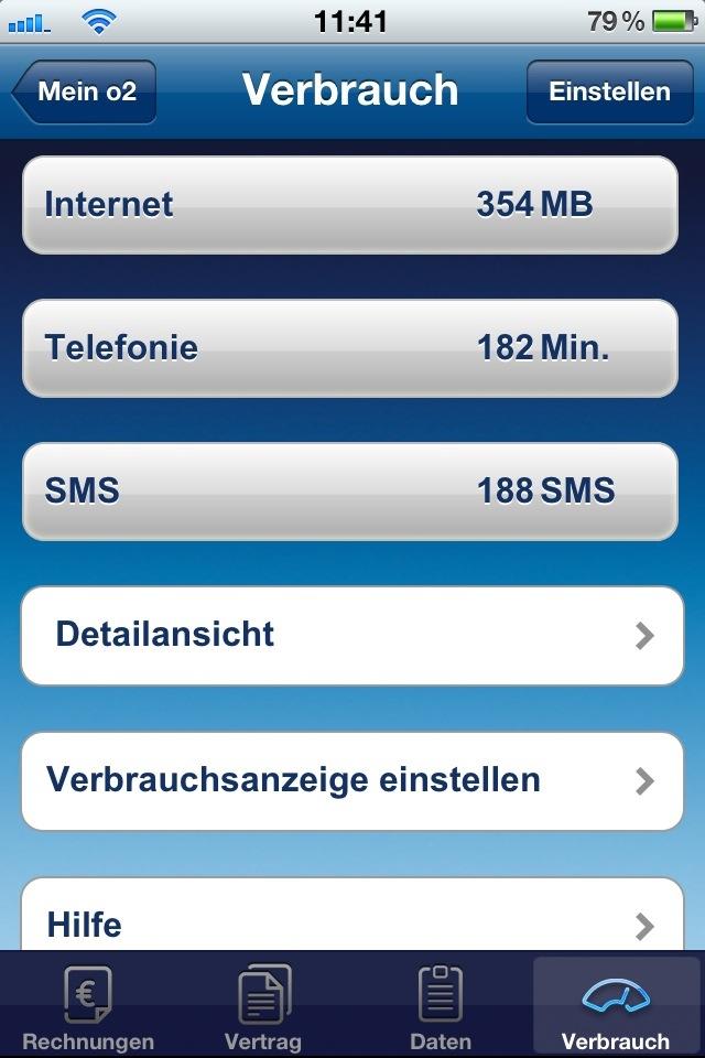 """Verbrauchsanzeige nun auch in der App """"Mein o2"""""""