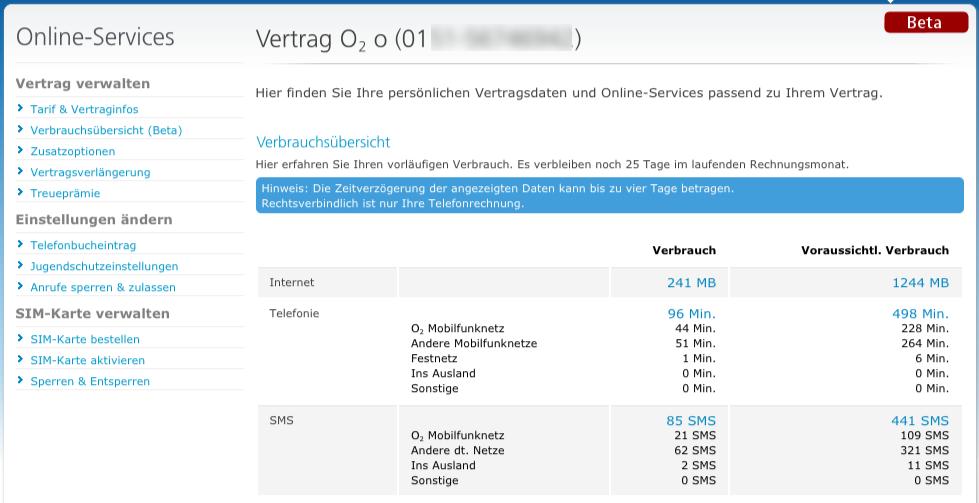 Beta-Feature: O2 zeigt den Verbrauch des Daten-, Telefon-  und SMSvolumens