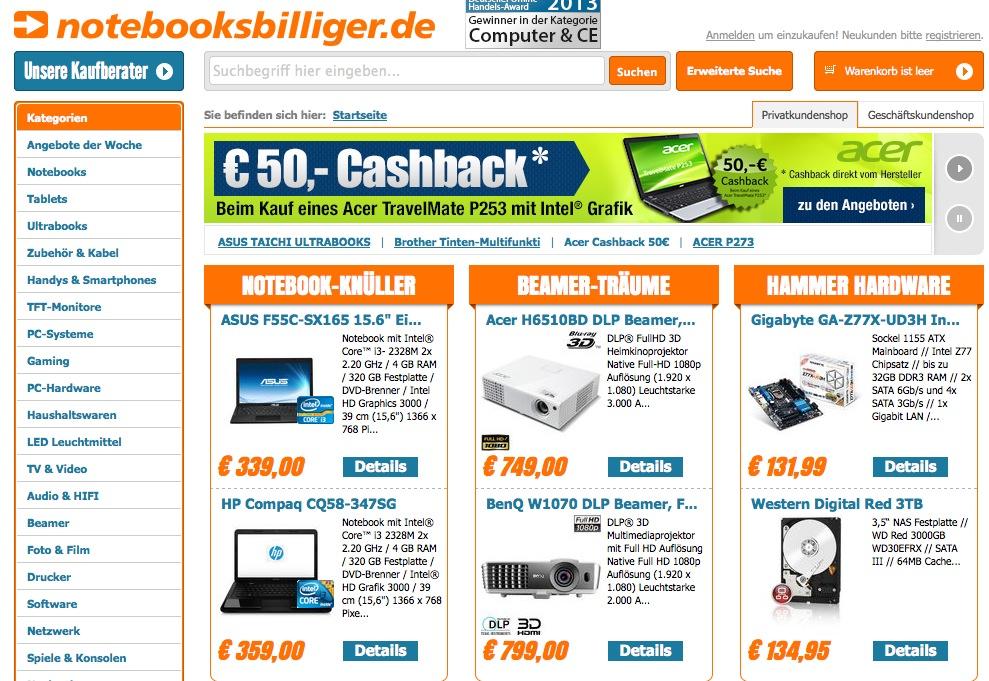 Notebooks online kaufen auf Notebooksbilliger.de