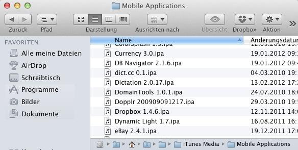 Wo iOS Apps lokal in Mac OS X und Windows gespeichert werden