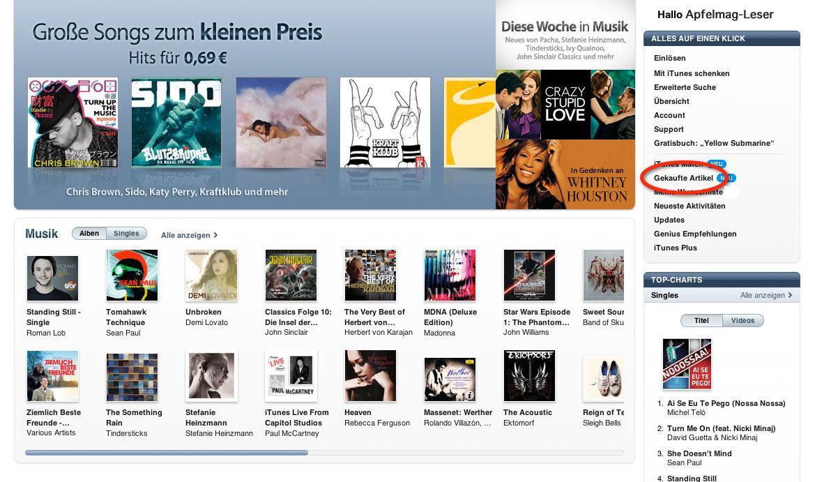 [HowTo] Gekaufte Musik/Apps erneut aus dem App Store/iTunes Store laden