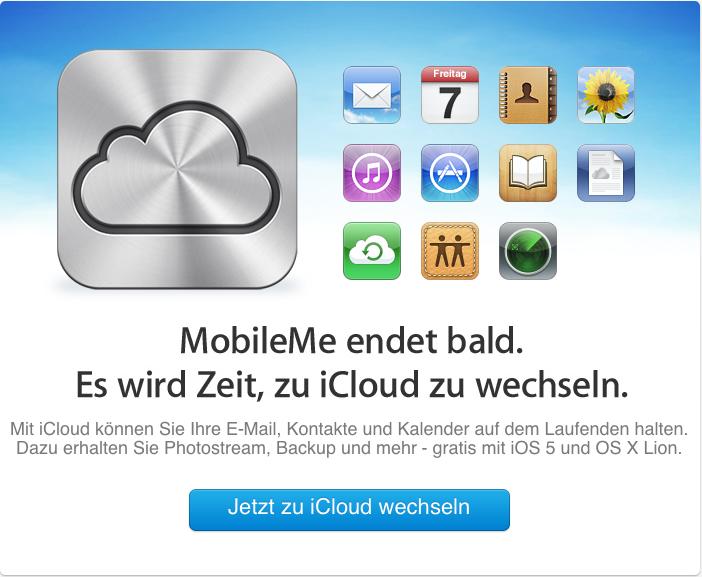 Möglicher Datenverlust für MobileMe-User: Apple erinnert per Mail