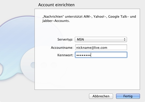 "MSN in ""Messages Beta"" verwenden"