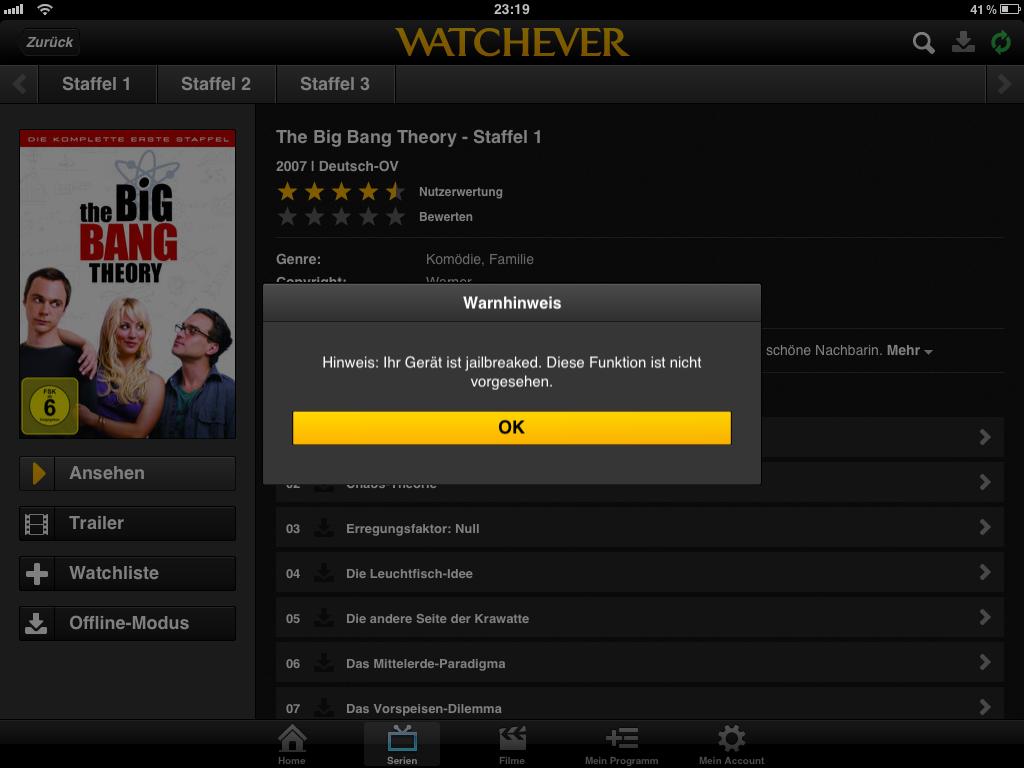 Watchever und Lovefilm schließen Geräte mit Jailbreak aus!