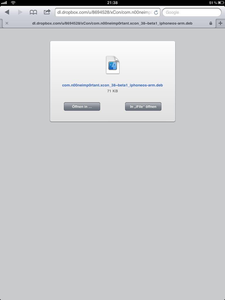 Cydia-Apps manuell über iFile installieren