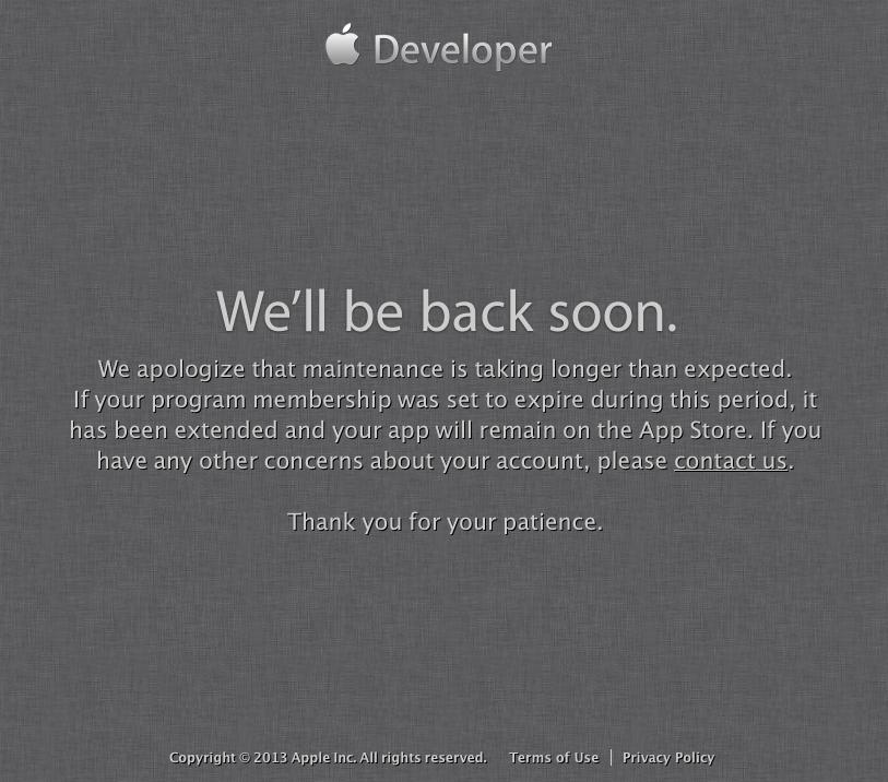 Apple Developer-Portal: Seit Tagen unerreichbar