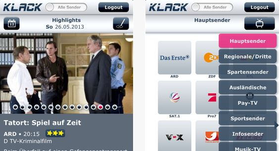 """kostenlose iPhone-App """"Klack TV"""" zeigt euch das jeweils aktuelle TV-Programm"""
