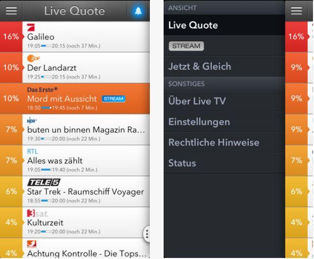 TV-Sendungen mit Quoten sehen und posten