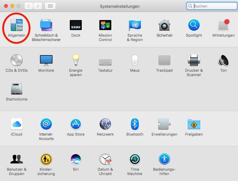 Mac OS Systemeinstellungen Allgemein Auswahl