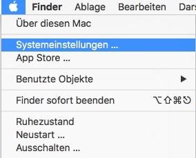 Mac OS Systemeinstellungen Auswahl