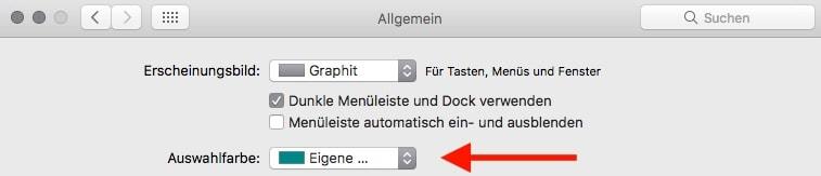Mac OS Systemeinstellungen Auswahlfarbe