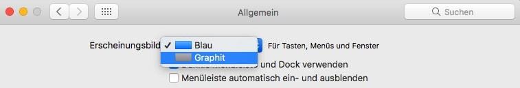 Mac OS Systemeinstellungen Erscheinungsbild Graphit Auswahl
