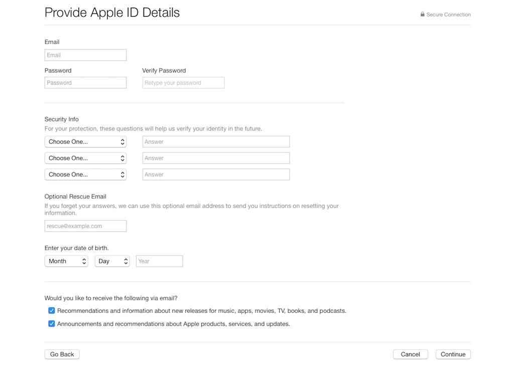 US Apple ID Passwort festlegen