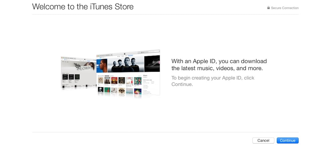 US Apple ID Wilkommensbildschirm