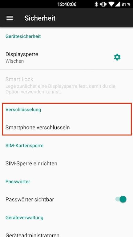 Android Einstellungen Sicherheit