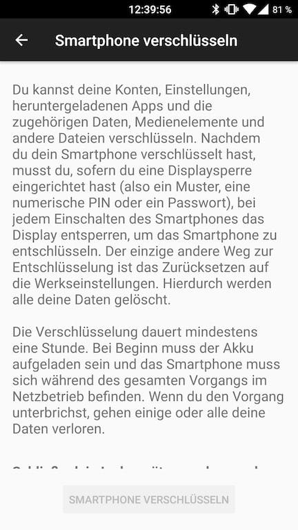 Android Einstellungen Smartphone verschluesseln