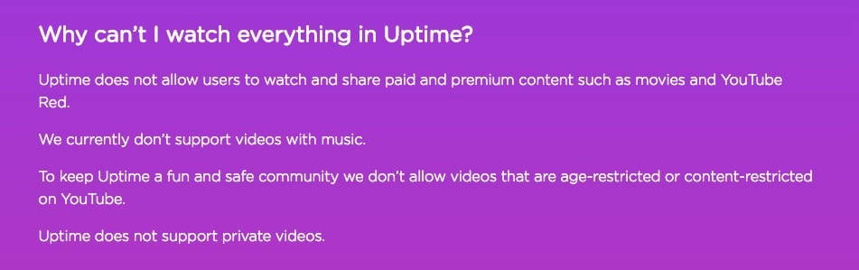 Uptime Video Restriktionen