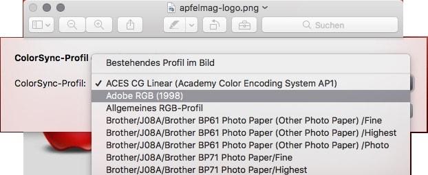 macOS Adobe RGB Profil zuweisen
