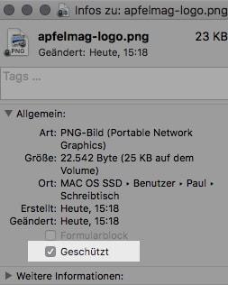 macOS Datei als geschuetzt markieren