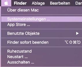 macOS Systemeinstellungen auswaehlen