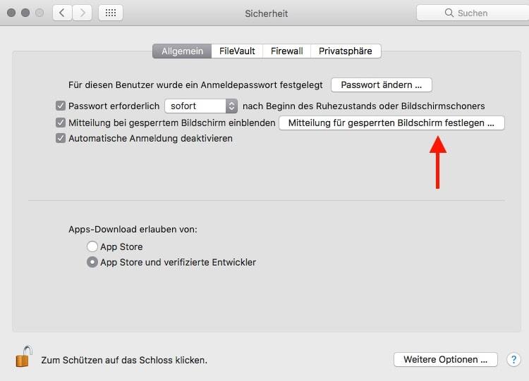 macOS Sperrbildschirm anpassen Mitteilung