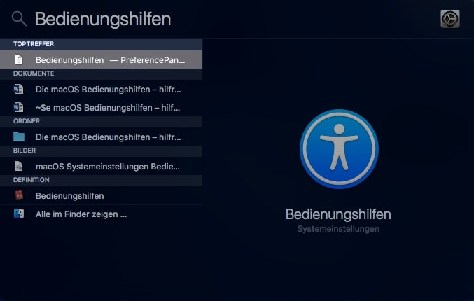 macOS Spotlight-Suche Bedienungshilfen