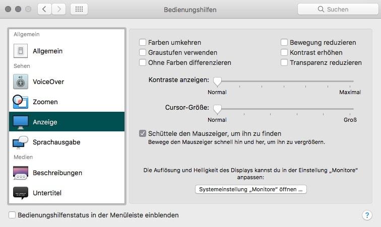 macOS Systemeinstellungen Bedienungshilfen Anzeige