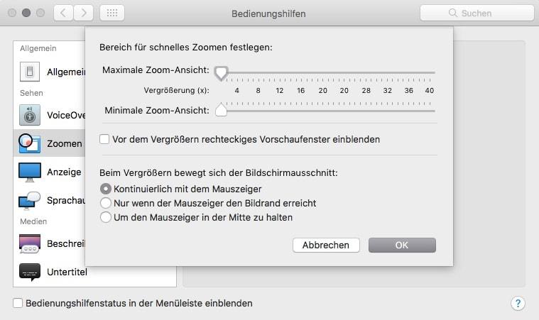 macOS Systemeinstellungen Bedienungshilfen Optionen
