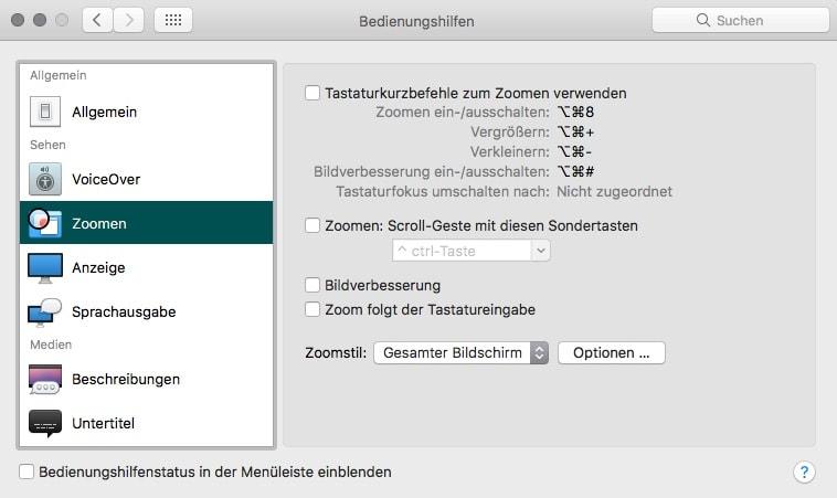 macOS Systemeinstellungen Bedienungshilfen Zoomen