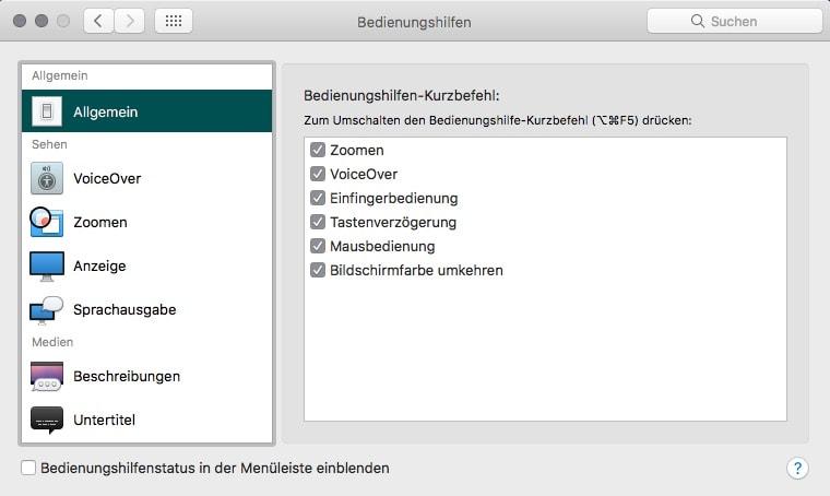 macOS Systemeinstellungen Bedienungshilfen