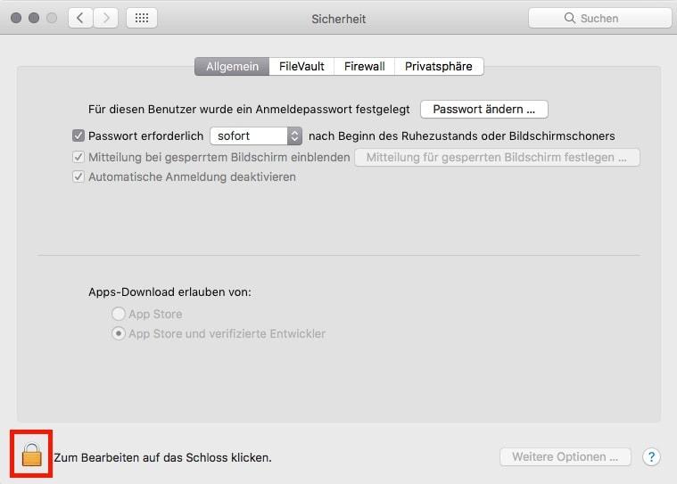 macOS Systemeinstellungen Sicherheit Schloss