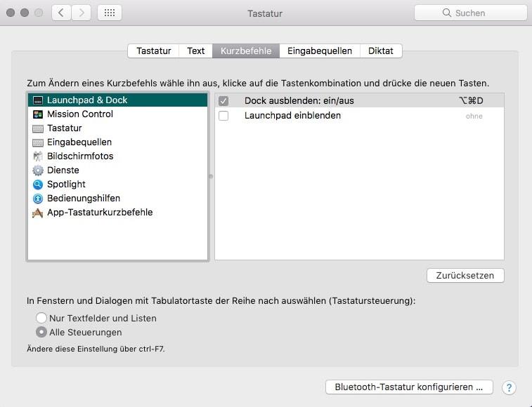 macOS Systemeinstellungen Tastatur Kurzbefehle Uebersicht