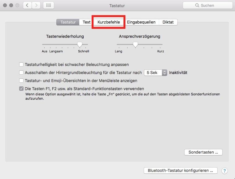 macOS Systemeinstellungen Tastatur Kurzbefehle