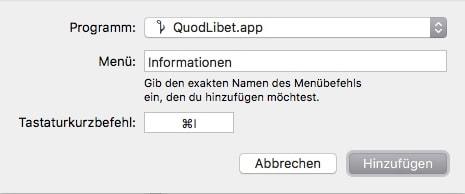 macOS Tastenkuerzel hinzufuegen QuodLibet