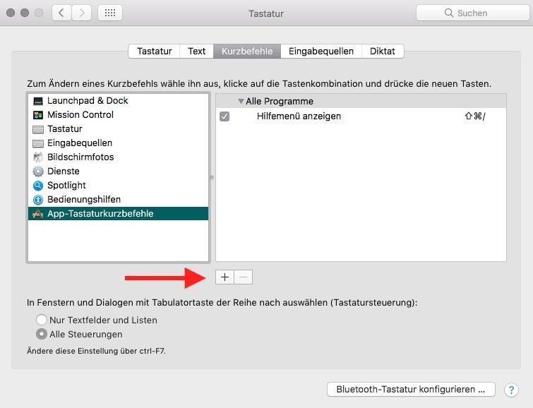 macOS Tastenkuerzel hinzufuegen