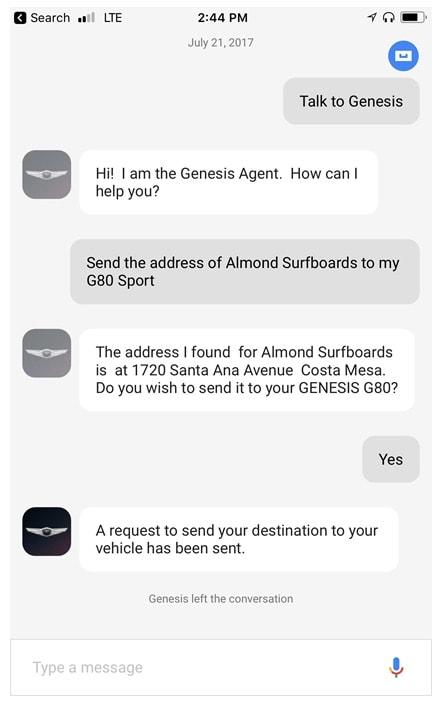 Genesis Google Assistant Konversation 1