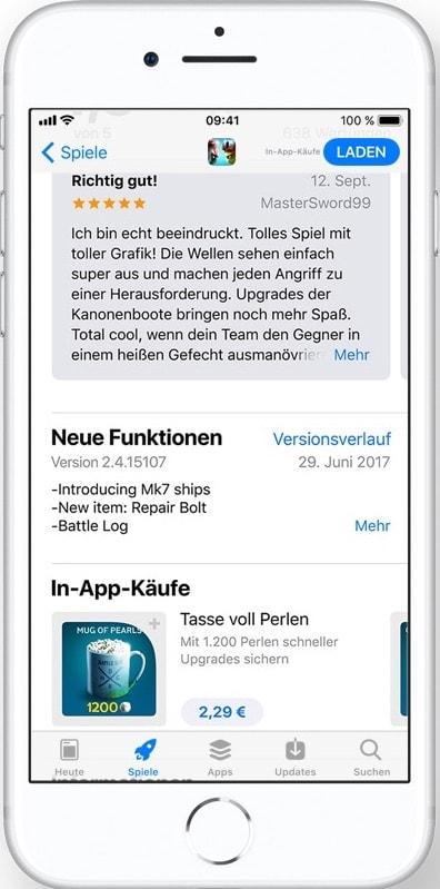 App Store Redesign App Seite Bewertungen und in-App Kaeufe