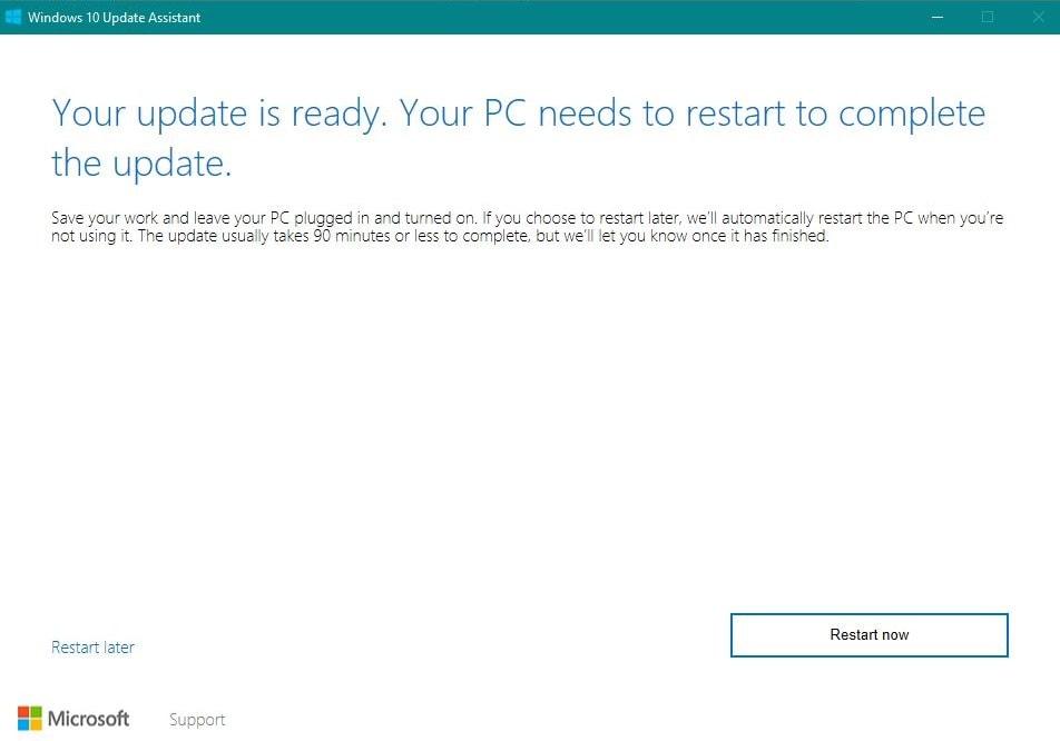 Windows 10 Fall Creators Update Neustarten