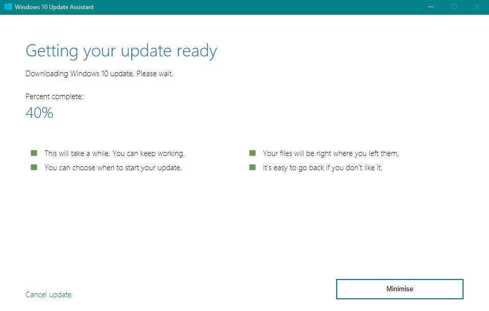 Windows 10 Fall Creators Update Update Assistant Fortschritt