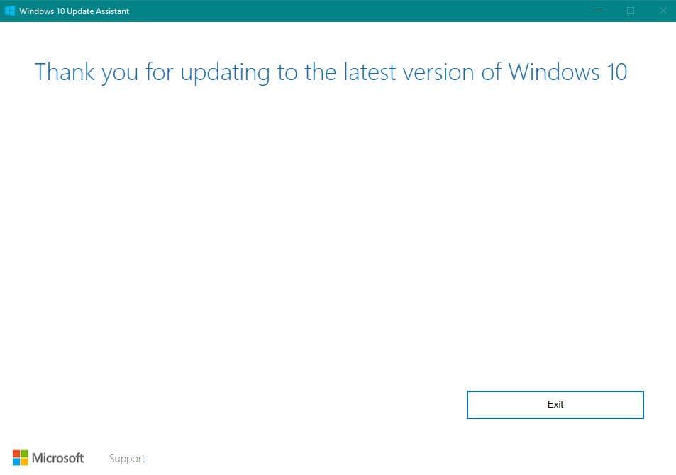 Windows 10 Fall Creators Update abgeschlossen