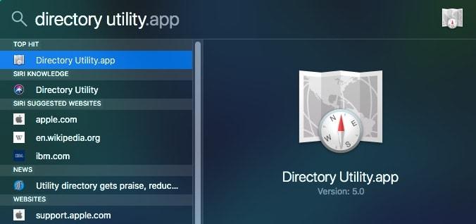 macOS Spotlight Suche directory utility
