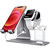 Bestand 3 in 1 Aluminium Phone Stand, Ladestation, Dock Kompatibel mit iPhone, Apple Watch, Airpods and Other Smartphone - Grau