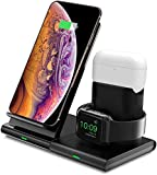 Hoidokly 3 in 1 Wireless Charger Qi Kabellose Ladestation Abnehmbare Magnetische Schnellladegerätn für iWatch 7/6/5/4/3/2/AirPods,für iPhone 13 Pro Max/12 Pro/11/XS/XR/8(Kein Adapter/iWatch Ladekabel)